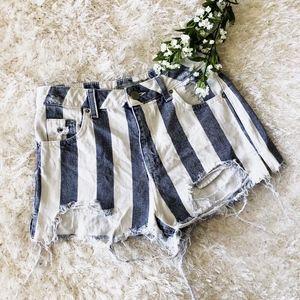 Topshop MOTO Striped Denim Distressed Mom Shorts